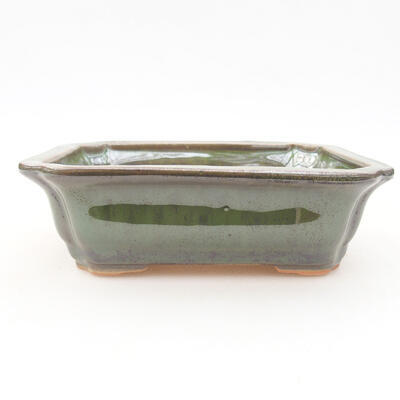 Ceramiczna miska bonsai 12 x 9,5 x 4 cm, kolor zielony - 1