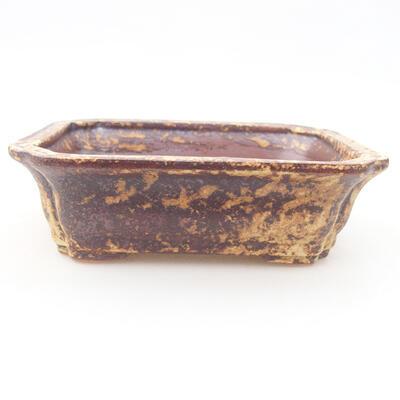Ceramiczna miska bonsai 12 x 9,5 x 4 cm, kolor brązowo-żółty - 1