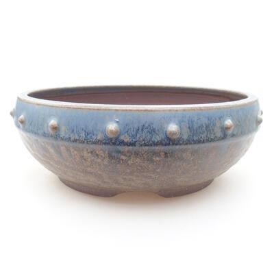 Ceramiczna miska bonsai 18,5 x 18,5 x 7 cm, kolor niebieski - 1
