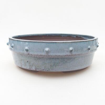 Ceramiczna miska bonsai 19,5 x 19,5 x 6,5 cm, kolor niebieski - 1