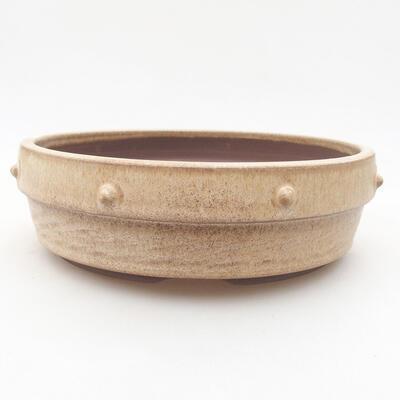 Ceramiczna miska bonsai 18 x 18 x 5,5 cm, kolor beżowy - 1