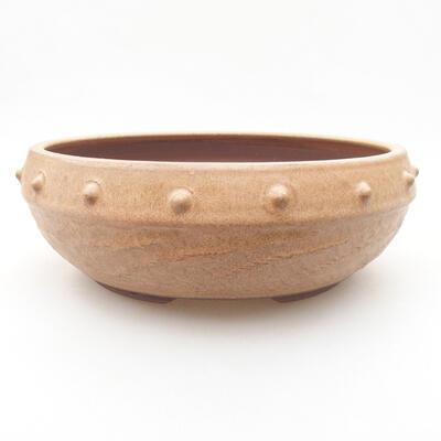 Ceramiczna miska bonsai 19,5 x 19,5 x 7 cm, kolor beżowy - 1