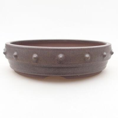 Ceramiczna miska bonsai 18 x 18 x 4,5 cm, kolor brązowy - 1