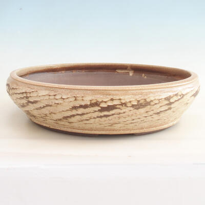 Ceramiczna miska bonsai 36,5 x 36,5 x 9,5 cm, kolor beżowy - 1