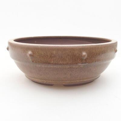 Ceramiczna miska bonsai 16 x 16 x 5,5 cm, kolor brązowy - 1
