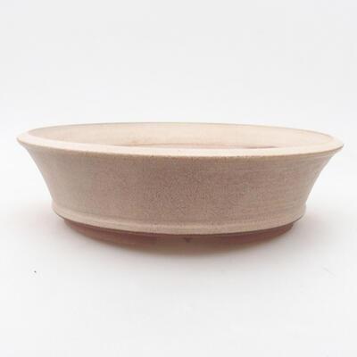 Ceramiczna miska bonsai 20,5 x 20,5 x 5,5 cm, kolor beżowy - 1