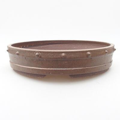 Ceramiczna miska bonsai 26 x 26 x 5,5 cm, kolor brązowy - 1