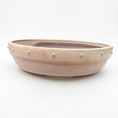 Ceramiczna miska bonsai 28 x 28 x 7 cm, kolor beżowy - 1