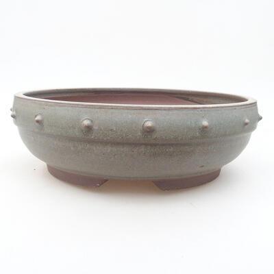 Ceramiczna miska bonsai 25,5 x 25,5 x 8 cm, kolor szary - 1