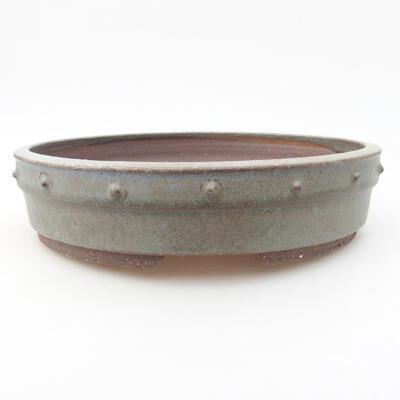 Ceramiczna miska bonsai 22 x 22 x 5 cm, kolor szary - 1
