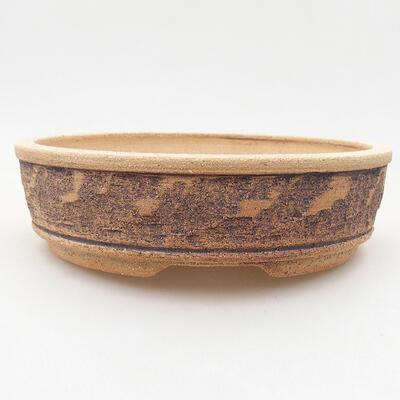 Ceramiczna miska bonsai 21 x 21 x 6 cm, kolor brązowy - 1