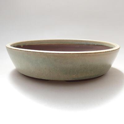 Ceramiczna miska bonsai 17 x 17 x 4 cm, kolor beżowy - 1
