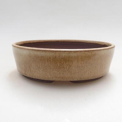 Ceramiczna miska bonsai 15 x 15 x 4,5 cm, kolor beżowy - 1