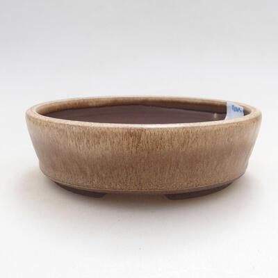 Ceramiczna miska bonsai 14 x 14 x 4 cm, kolor beżowy - 1