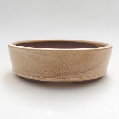 Ceramiczna miska bonsai 14,5 x 14,5 x 4,5 cm, kolor beżowy - 1