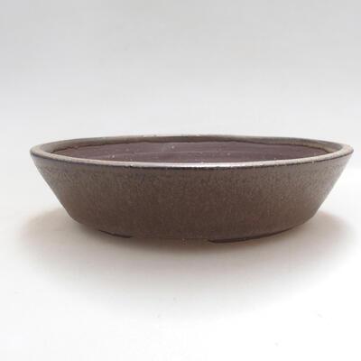 Ceramiczna miska bonsai 16,5 x 16,5 x 3,5 cm, kolor brązowy - 1