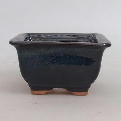 Ceramiczna miska bonsai 10 x 10 x 5,5 cm, kolor niebiesko-czarny - 1