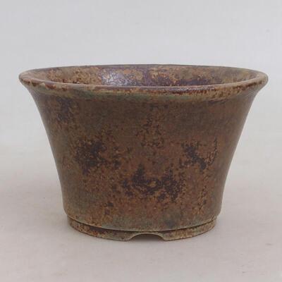 Ceramiczna miska bonsai 11 x 11 x 7 cm, kolor brązowo-zielony - 1