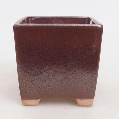 Ceramiczna miska bonsai 9 x 9 x 8,5 cm, kolor brązowy - 1