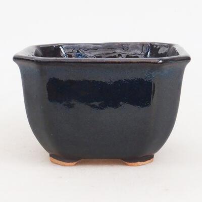 Ceramiczna miska bonsai 10 x 10 x 6 cm, kolor niebiesko-czarny - 1