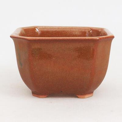 Ceramiczna miska bonsai 10 x 10 x 6 cm, kolor brązowo-rdzawy - 1