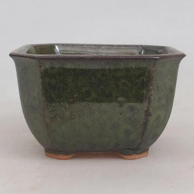 Ceramiczna miska bonsai 10 x 10 x 6 cm, kolor szaro-zielony - 1