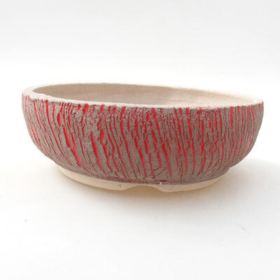 Ceramiczna miska bonsai 13 x 13 x 6 cm, kolor czerwony - 1