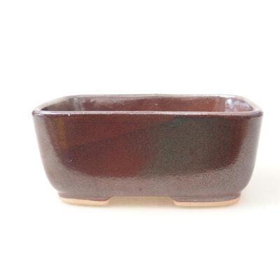 Ceramiczna miska bonsai 12 x 9 x 5 cm, kolor brązowy - 1