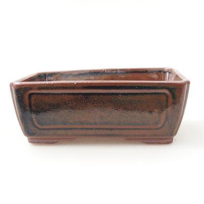 Ceramiczna miska bonsai 12,5 x 9 x 4,5 cm, kolor brązowo-czarny - 1