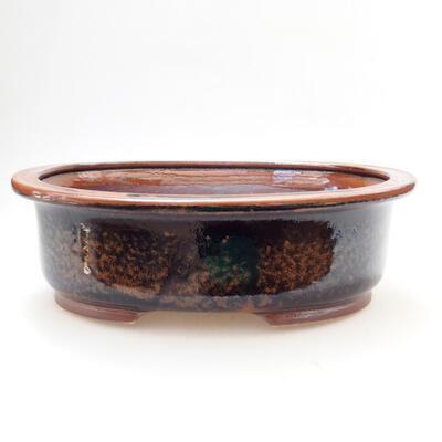Ceramiczna miska bonsai 25 x 20,5 x 8 cm, kolor brązowo-czarny - 1