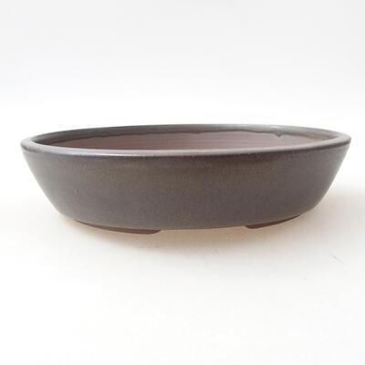 Ceramiczna miska bonsai 18 x 18 x 4 cm, kolor brązowy - 1