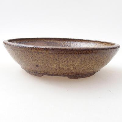 Ceramiczna miska bonsai 19 x 19 x 5 cm, kolor brązowy - 1