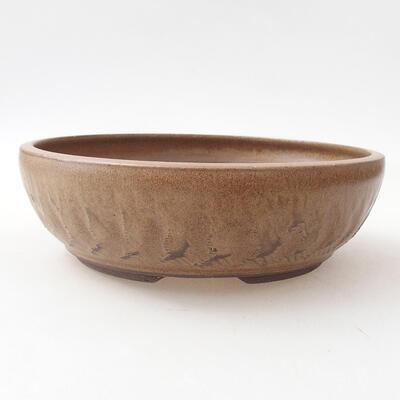 Ceramiczna miska bonsai 20 x 20 x 6 cm, kolor brązowy - 1