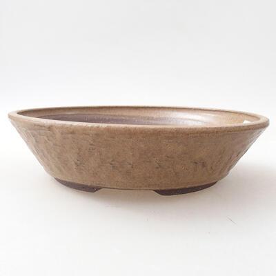 Ceramiczna miska bonsai 22,5 x 22,5 x 5,5 cm, kolor brązowy - 1