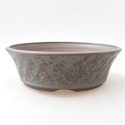 Ceramiczna miska bonsai 24 x 24 x 7,5 cm, kolor niebieski - 1