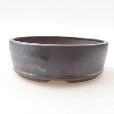 Ceramiczna miska bonsai 14 x 14 x 4,5 cm, kolor metalowy - 1