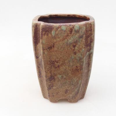 Ceramiczna miska bonsai 10 x 10 x 15,5 cm, kolor brązowo-zielony - 1