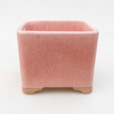 Ceramiczna miska bonsai 10 x 10 x 8 cm, kolor różowy - 1