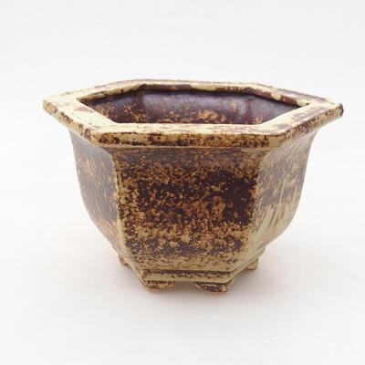 Ceramiczna miska bonsai 12 x 10,5 x 7,5 cm, kolor żółto-brązowy - 1