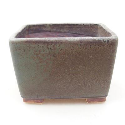 Ceramiczna miska bonsai 10 x 10 x 7 cm, kolor zielono-brązowy - 1