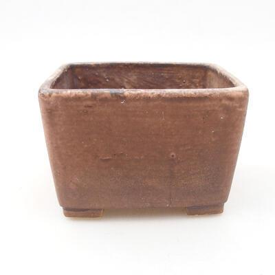 Ceramiczna miska bonsai 10 x 10 x 7 cm, kolor brązowo-różowy - 1