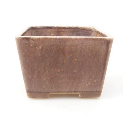 Ceramiczna miska bonsai 10 x 10 x 7,5 cm, kolor brązowy - 1