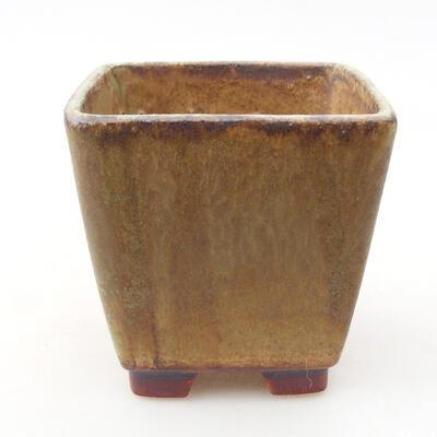 Ceramiczna miska bonsai 7 x 7 x 7 cm, kolor brązowo-zielony - 1