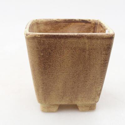 Ceramiczna miska bonsai 7 x 7 x 7 cm, kolor brązowo-żółty - 1