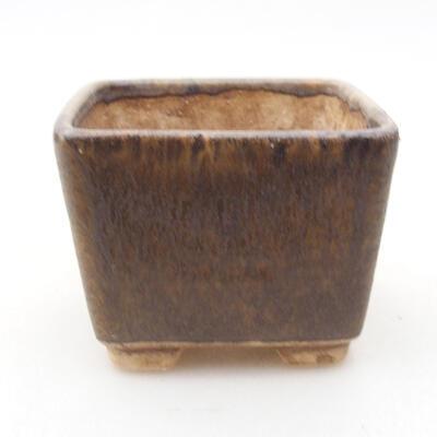 Ceramiczna miska bonsai 6,5 x 6,5 x 5 cm, kolor brązowy - 1