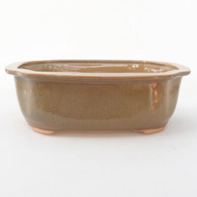 Ceramiczna miska bonsai 21 x 16,5 x 7 cm, kolor brązowy - 1