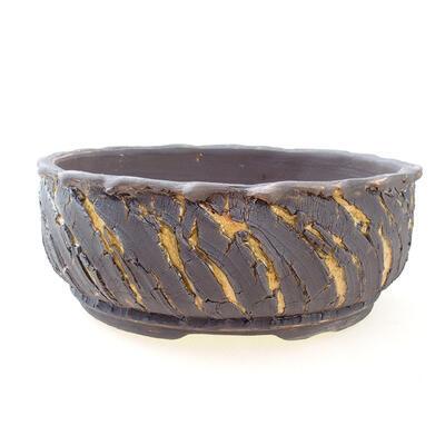 Ceramiczna miska bonsai 21 x 21 x 8 cm, kolor pęknięty żółty - 1