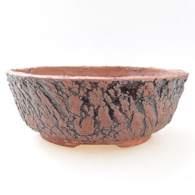 Ceramiczna miska bonsai 20,5 x 20,5 x 7,5 cm, kolor szaro-czarny - 1