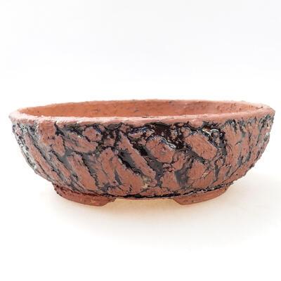 Ceramiczna miska bonsai 19 x 19 x 6 cm, kolor szaro-czarny - 1