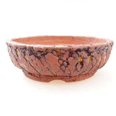 Ceramiczna miska bonsai 18 x 18 x 6 cm, kolor szaro-żółty - 1